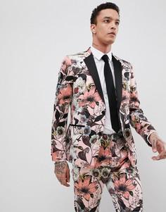 Розовый приталенный пиджак с цветочным принтом ASOS EDITION
