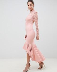 Платье макси с кружевным топом и годе City Goddess Bridesmaid-Розовый