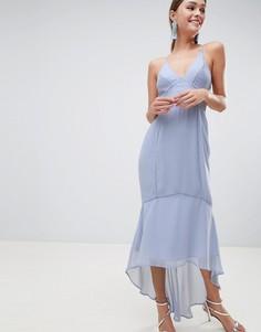 Платье миди на бретелях с кружевными вставками ASOS DESIGN-Синий