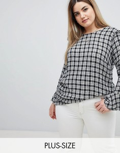 Блузка в клетку с оборками Zizzi-Черный