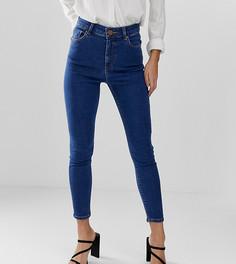 Синие джинсы скинни с завышенной талией ASOS DESIGN Petite Ridley-Синий