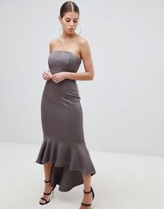 Платье-бандо макси с баской AX Paris-Серый