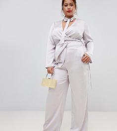 Серебристые атласные брюки широкого кроя Lovedrobe-Серебряный
