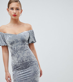 Бархатное облегающее платье с открытыми плечами New Look-Мульти