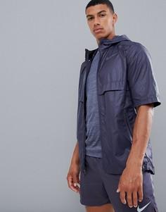 Фиолетовая куртка с короткими рукавами и принтом Nike Running Just Do It 928491-081-Фиолетовый