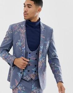 Синий приталенный пиджак с добавлением шерсти и цветочным принтом ASOS DESIGN