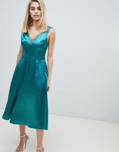 Зеленое платье миди с кружевной отделкой Little Mistress-Зеленый