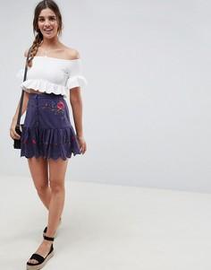 Мини-юбка на пуговицах с вышивкой и оборкой по краю ASOS DESIGN-Синий