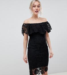 Черное кружевное платье-футляр с оборкой Paper Dolls Petite-Черный