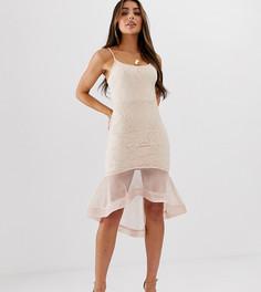 Кружевное платье мини с годе Missguided-Бежевый