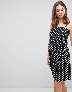 Платье в горошек на бретельках и с завязкой на спине Glamorous-Черный
