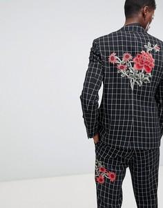 Черно-белый приталенный пиджак в клетку с вышивкой ASOS DESIGN-Черный