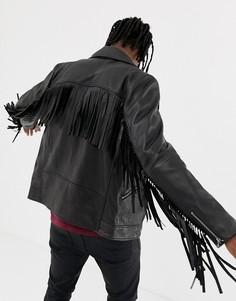 Кожаная байкерская куртка с кисточками ASOS DESIGN-Черный