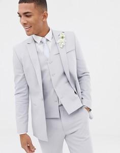 Приталенный пиджак холодного серого цвета с прямым краем ASOS DESIGN wedding-Серый