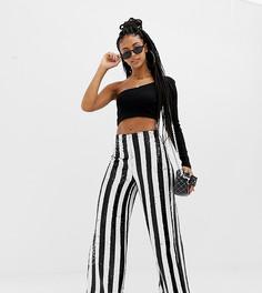 Широкие брюки в полоску с пайетками COLLUSION-Мульти