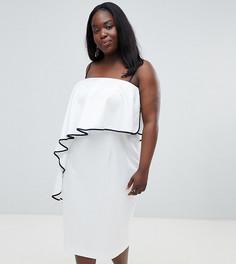 Платье миди бандо с контрастной оборкой ASOS DESIGN Curve-Белый