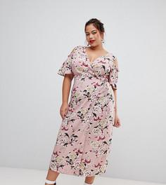 Розовое платье миди с открытыми плечами и цветочным принтом Lovedrobe-Мульти