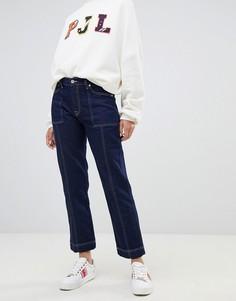 Джинсы прямого кроя с завышенной талией и контрастной строчкой Pepe Jeans-Синий