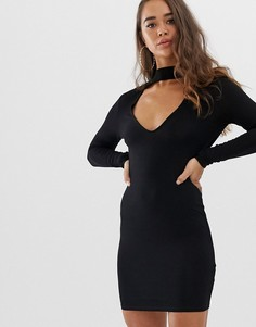 Облегающее платье мини с глубоким вырезом ASOS DESIGN-Черный