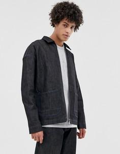 Джинсовая куртка из селвидж-денима ASOS WHITE-Черный