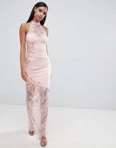 Платье макси с высоким воротом и кружевом Lipsy-Кремовый