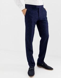 Жаккардовые брюки скинни с цветочным рисунком Farah Hookstone-Темно-синий