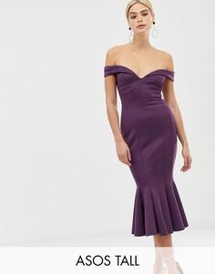 Платье миди с широким вырезом ASOS DESIGN Tall-Розовый