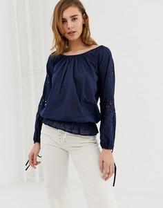Блузка с открытыми плечами Pepe Jeans Jasmine-Темно-синий