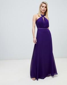 Фиолетовое платье макси с плиссированным топом и бретельками Little Mistress-Фиолетовый