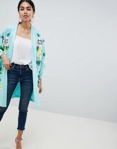 Куртка-кимоно с цветочной отделкой ASOS DESIGN-Мульти
