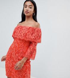 Платье-футляр с открытыми плечами и оборкой Paper Dolls Petite-Оранжевый
