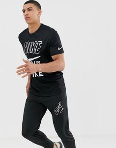 Черная футболка с логотипом Nike Running Air-Черный