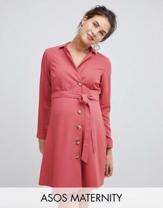 Платье-рубашка мини с пуговицами ASOS DESIGN Maternity-Розовый