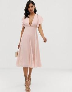 Платье миди с кружевными вставками ASOS DESIGN-Розовый