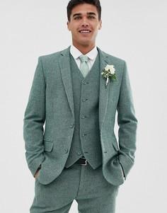 Супероблегающий зеленый пиджак из ткани с добавлением шерсти в мелкую клетку ASOS DESIGN Wedding