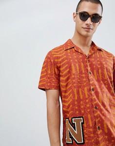 Оранжевая рубашка из органического хлопка с короткими рукавами Nudie Jeans Co Brandon-Белый