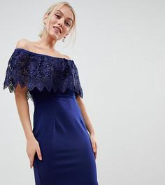 Темно-синее платье-футляр с широким вырезом и кружевной отделкой Paper Dolls Petite-Темно-синий