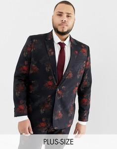 Свадебный пиджак с темным цветочным принтом River Island Big & Tall-Черный
