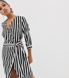 Платье в полоску с запахом Vero Moda Petite-Мульти