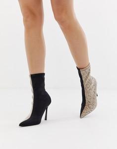 Полусапожки на каблуке с острым носом и отделкой под змеиную кожу ASOS DESIGN Esme-Черный