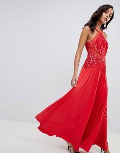 Платье макси с кружевным топом и плиссированной юбкой ASOS DESIGN-Красный