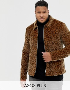 Куртка на молнии с леопардовым принтом ASOS DESIGN Plus-Светло-коричневый