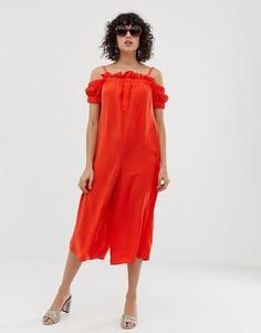 Комбинезон с открытыми плечами, пуговицами и оборками Lost Ink-Оранжевый