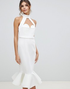 Облегающее платье миди с цепочками на спине ASOS DESIGN Premium-Белый