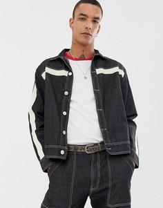 Джинсовая куртка с полосками по бокам Sacred Hawk-Черный