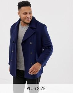 Пальто-бушлат с добавлением шерсти Harry Brown Plus premium-Темно-синий