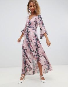 Платье макси с запахом и цветочным принтом Glamorous-Розовый