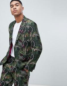 Зеленый пиджак зауженного кроя с ботаническим принтом ASOS DESIGN