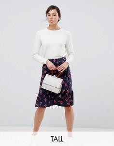 Розовая юбка с оборками и цветочным принтом YAS Tall-Мульти