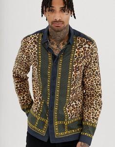 Хлопковая рубашка классического кроя с леопардовым принтом ASOS DESIGN-Черный